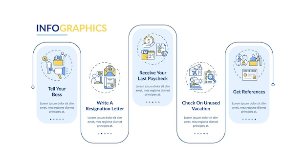 Infografik-vorlage für den jobwechsel checkliste vektor. so hinterlassen sie gestaltungselemente ihrer jobpräsentation. datenvisualisierung mit 5 schritten. zeitachsendiagramm des prozesses. workflow-layout mit linearen symbolen