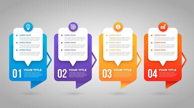 Infografik-vorlage für den verlaufsprozess Kostenlosen Vektoren