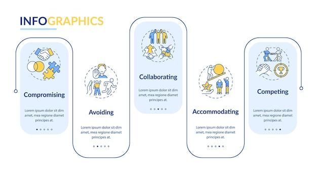 Infografik-vorlage für die auflösung von beziehungsproblemen. konflikte präsentation entwurfselemente. datenvisualisierung mit 5steps. info-diagramm zur prozesszeitachse. workflow-layout mit liniensymbolen