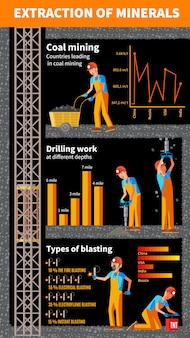Infografik-vorlage für die bergbauindustrie Kostenlosen Vektoren