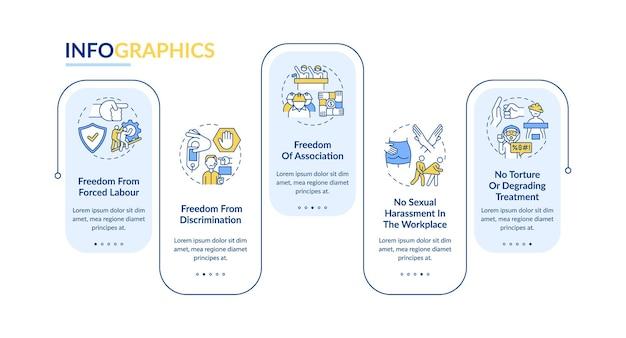 Infografik-vorlage für die freiheiten von wanderarbeitern. gestaltungselemente für die präsentation von einwanderern.