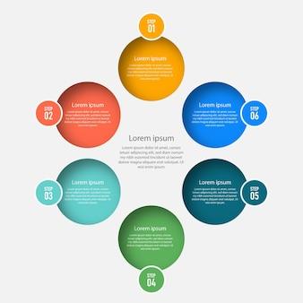 Infografik-vorlage für die präsentation von schritten mit 4 optionen