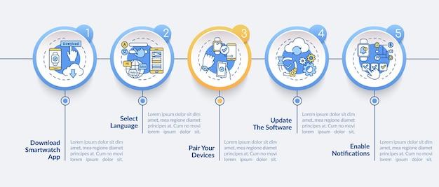 Infografik-vorlage für die smartwatch-installation