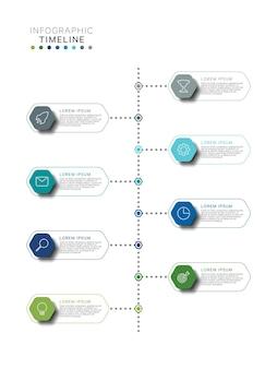 Infografik-vorlage für die vertikale zeitachse mit sechseckigen mehrfarbigen elementen in flachen farben