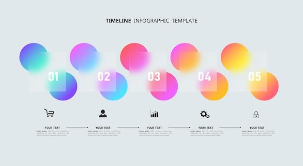 Infografik-vorlage für die zeitleiste mit fünf schritten