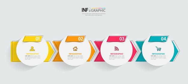 Infografik-vorlage für die zeitleiste mit vier schritten