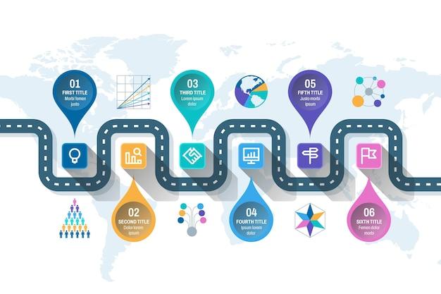 Infografik-vorlage für eine flache roadmap