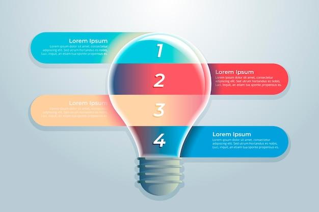 Infografik-vorlage für farbverlaufskreativität mit glühbirne