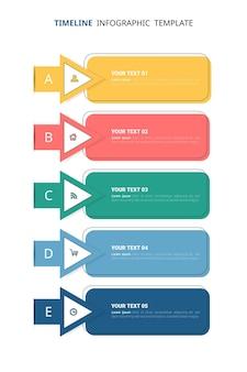 Infografik-vorlage für flache zeitachsen
