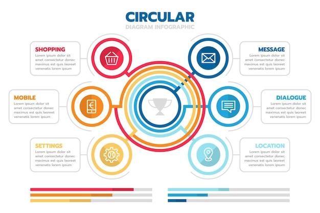Infografik-vorlage für flaches kreisförmiges diagramm