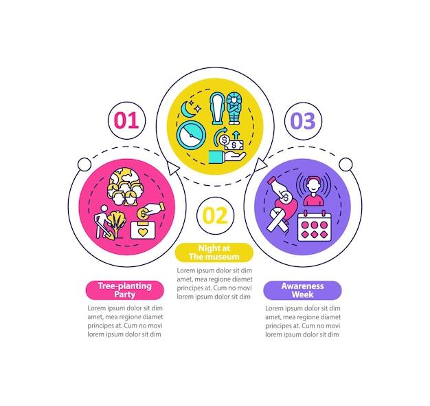 Infografik-vorlage für fundraising-kampagnen. gestaltungselemente für die präsentation von baumpflanzungen. datenvisualisierung in 3 schritten. info-diagramm zur prozesszeitachse. workflow-layout mit liniensymbolen