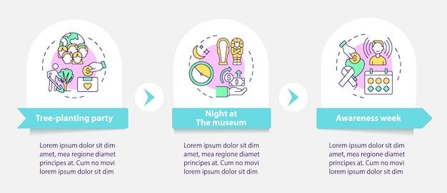 Infografik-vorlage für fundraising-methoden. awareness week präsentationsentwurfselemente. datenvisualisierung in 3 schritten. info-diagramm zur prozesszeitachse. workflow-layout mit liniensymbolen