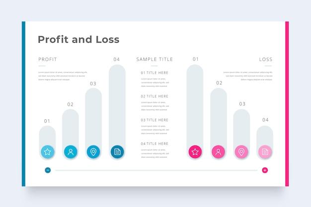 Infografik-vorlage für geschäftsgewinn und -verlust