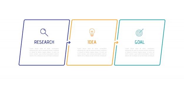 Infografik-vorlage für geschäftsprozesse. dünnes liniendesign mit 3 optionen oder schritten.