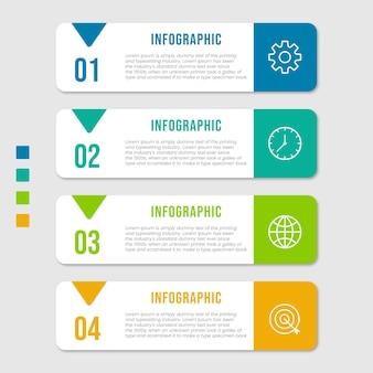 Infografik-vorlage für geschäftsprozesse. dünnes liniendesign mit nummern 4 optionen oder schritten. vektorillustrations-grafikdesign