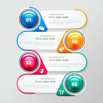 Infografik-vorlage für glänzende schritte