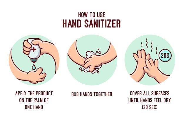 Infografik-vorlage für händedesinfektionsmittel