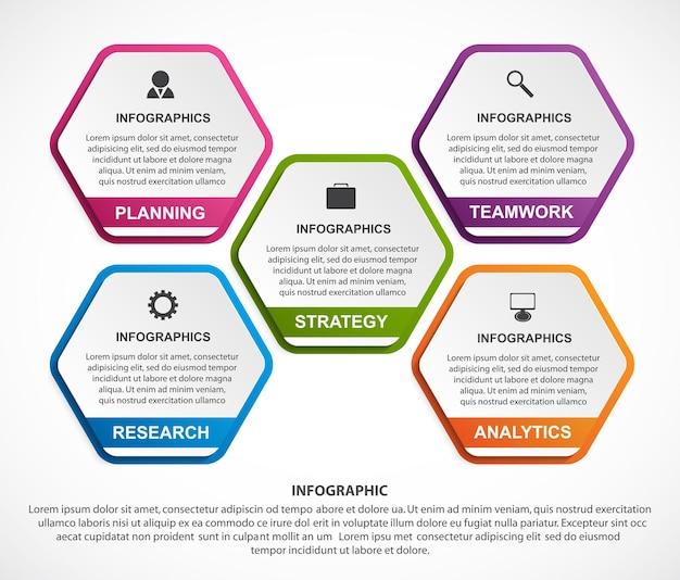Infografik-vorlage für hexagon-optionen infografiken für geschäftspräsentationen