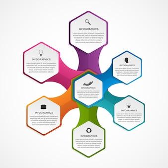 Infografik-vorlage für hexagon-optionen.