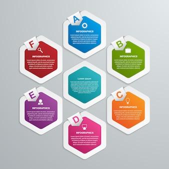Infografik-vorlage für hexagon-optionen