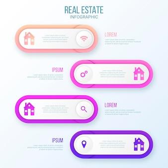 Infografik-vorlage für immobilien im papierstil