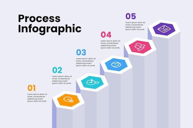 Infografik-vorlage für isometrische prozesse