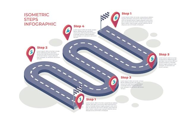 Infografik-vorlage für isometrische schritte