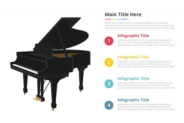Infografik-vorlage für klavier mit 4 punkten