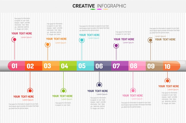 Infografik-vorlage für präsentationen, 10 schritte. vektor-illustration