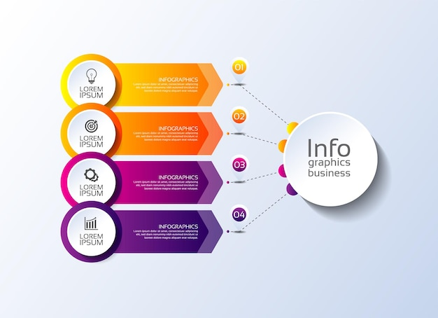 Infografik-vorlage für präsentationsgeschäft bunt mit vier schritten