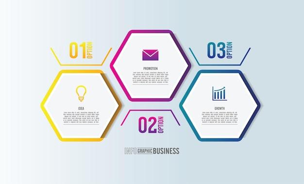 Infografik-vorlage für präsentationsgeschäft mit 3 schritten