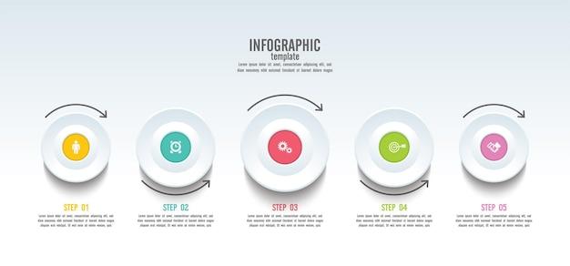 Infografik-vorlage für präsentationsgeschäft mit 5 schritten