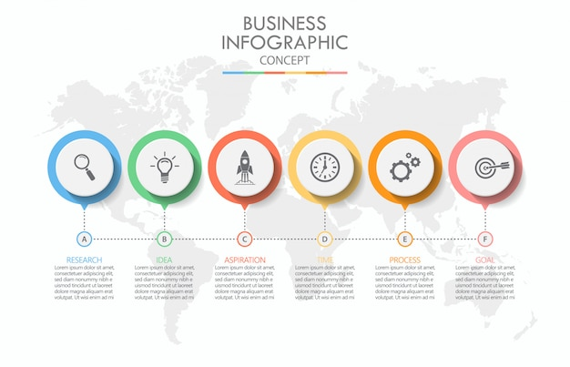 Infografik-vorlage für präsentationsgeschäft mit 6 optionen.