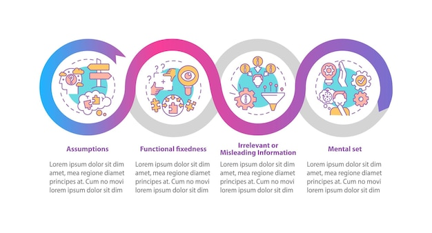 Infografik-vorlage für problemlösungsprobleme. kreatives denken präsentationsdesignelemente