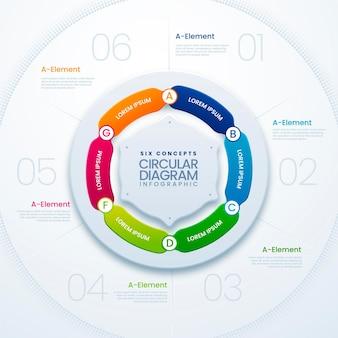 Infografik-vorlage für realistische kreisdiagramme