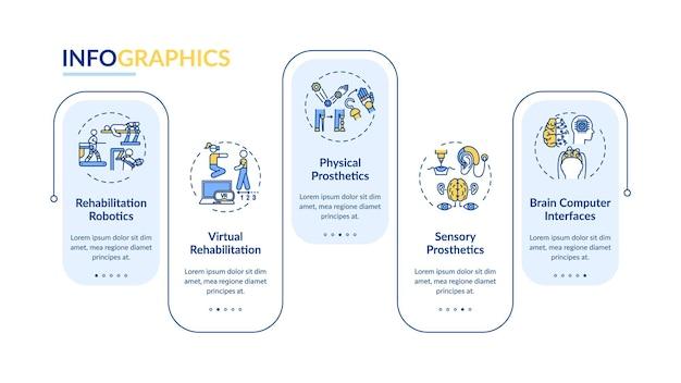 Infografik-vorlage für rehabilitationstechnik. robotik, vr-präsentationsdesignelemente.
