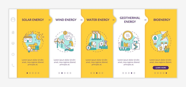 Infografik-vorlage für saubere energie mit wind- und sonnenenergie. gestaltungselemente der strompräsentation. datenvisualisierung 5 schritte. zeitdiagramm verarbeiten. workflow-layout mit linear