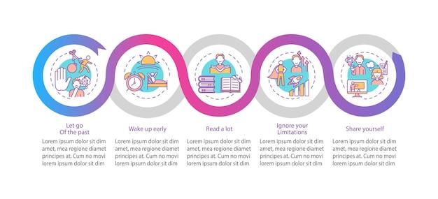 Infografik-vorlage für selbstentwicklungstipps. designelemente für die präsentation von erfolgen. datenvisualisierung mit 5 schritten. zeitachsendiagramm des prozesses. workflow-layout mit linearen symbolen
