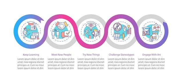 Infografik-vorlage für tipps zum kreativen denken. lernen sie weiterhin präsentationselemente.