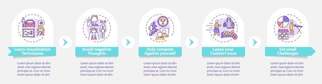 Infografik-vorlage für tools zur selbstverbesserung. designelemente der erfolgspräsentation.