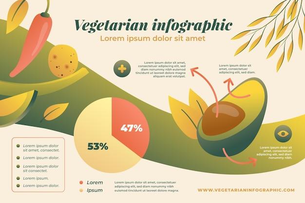 Infografik-vorlage für vegetarisches essen mit farbverlauf