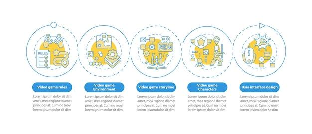 Infografik-vorlage für videospiel-designkomponenten. gestaltungselemente für die präsentation der spielumgebung. datenvisualisierung mit 5 schritten. zeitdiagramm verarbeiten. workflow-layout mit linearen symbolen