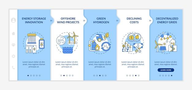 Infografik-vorlage für windkraftanlagen. präsentationsgestaltungselemente für technologien für erneuerbare energien. datenvisualisierung 5 schritte. zeitdiagramm verarbeiten. workflow-layout mit linear