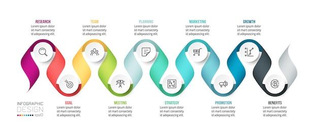 Infografik-vorlage für zeitdiagrammgeschäft.