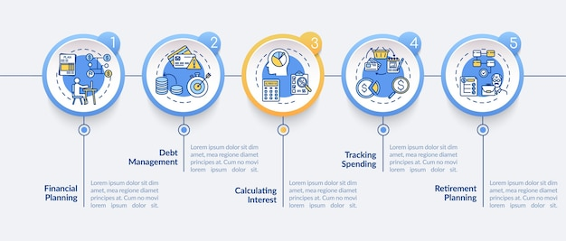 Infografik-vorlage für ziele der finanzkompetenz