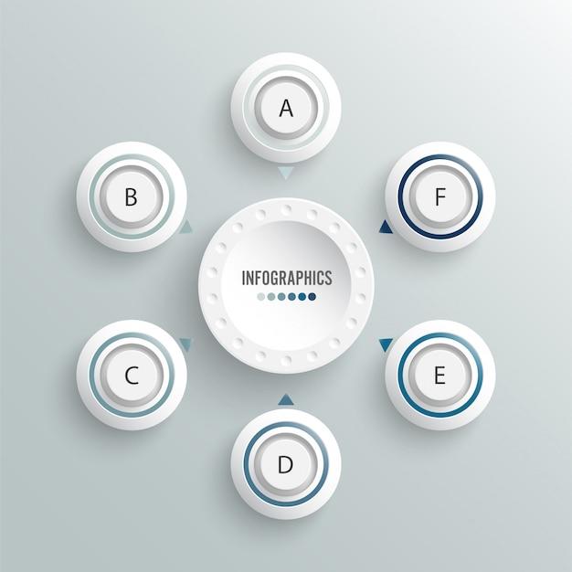 Infografik vorlage. geschäftskonzept mit sechs optionen.