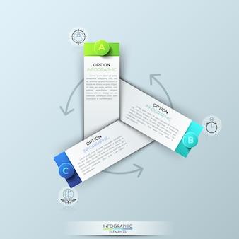 Infografik-vorlage mit 3 rechteckigen elementen