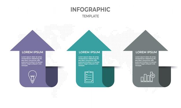 Infografik-vorlage mit 3 schritten, pfeilart.