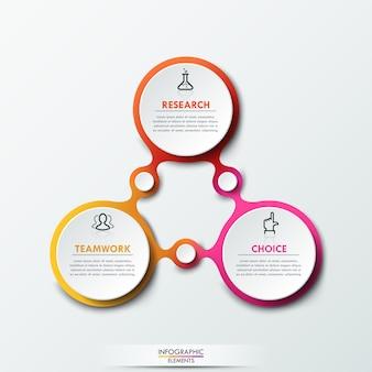 Infografik-vorlage mit 3 verbundenen kreisförmigen elementen