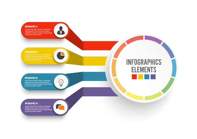 Infografik vorlage mit 3d-papier-label. geschäftskonzept mit 4 wahlen.